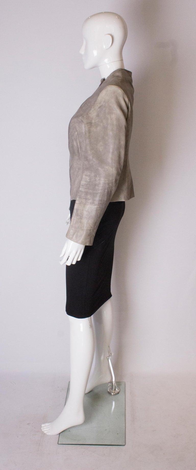 Vintage Grey Leather Jacket For Sale 1