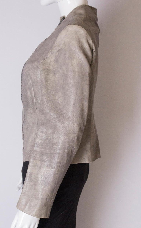 Vintage Grey Leather Jacket For Sale 2