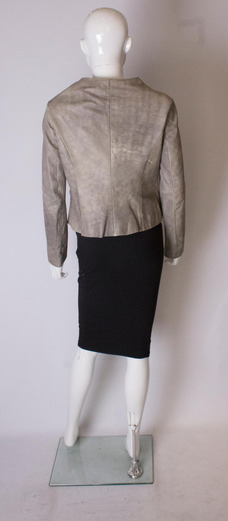 Vintage Grey Leather Jacket For Sale 3