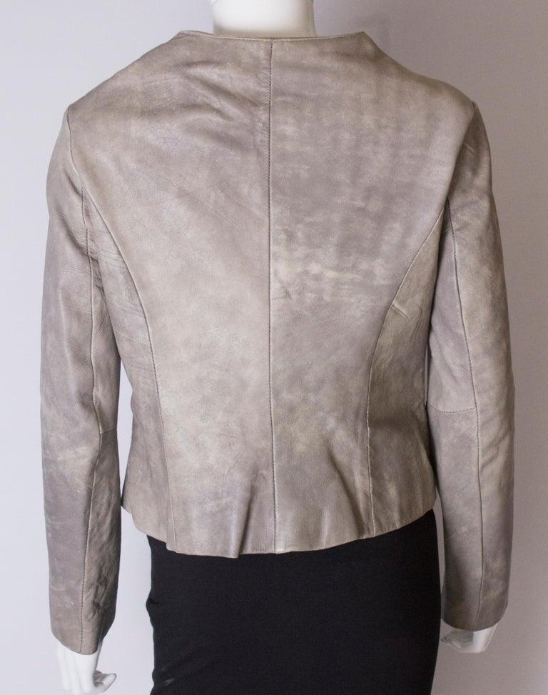 Vintage Grey Leather Jacket For Sale 4