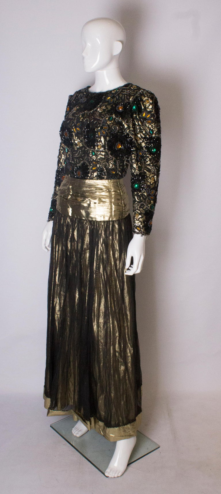 Black Beaded Evening Gown, 1980s For Sale