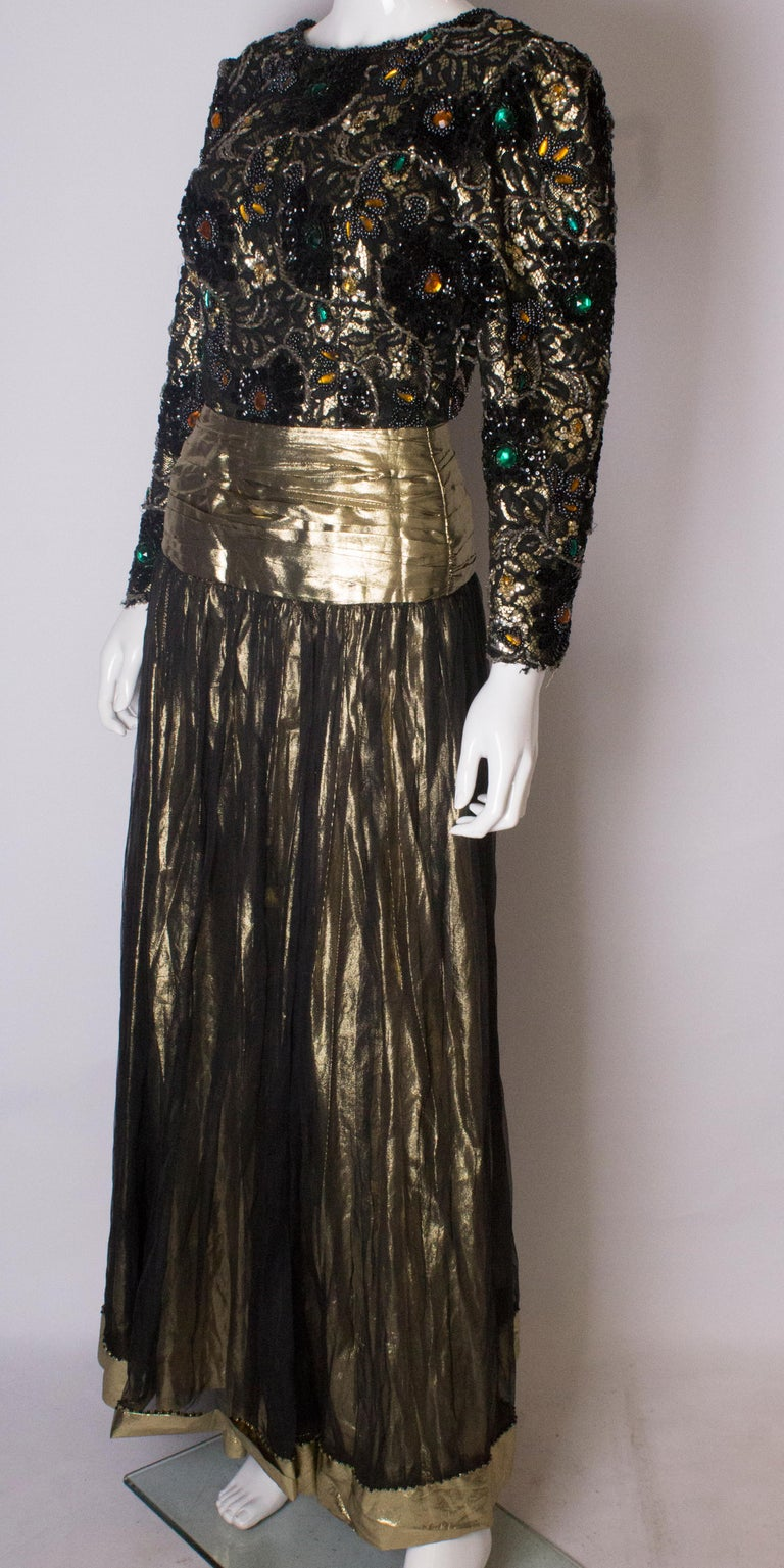 Beaded Evening Gown, 1980s In Good Condition For Sale In London, GB