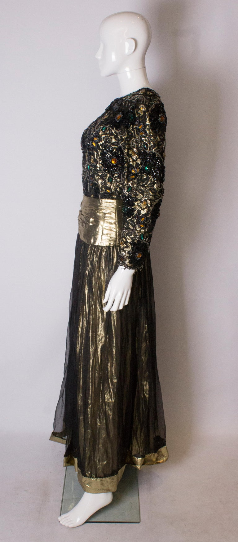 Women's Beaded Evening Gown, 1980s For Sale