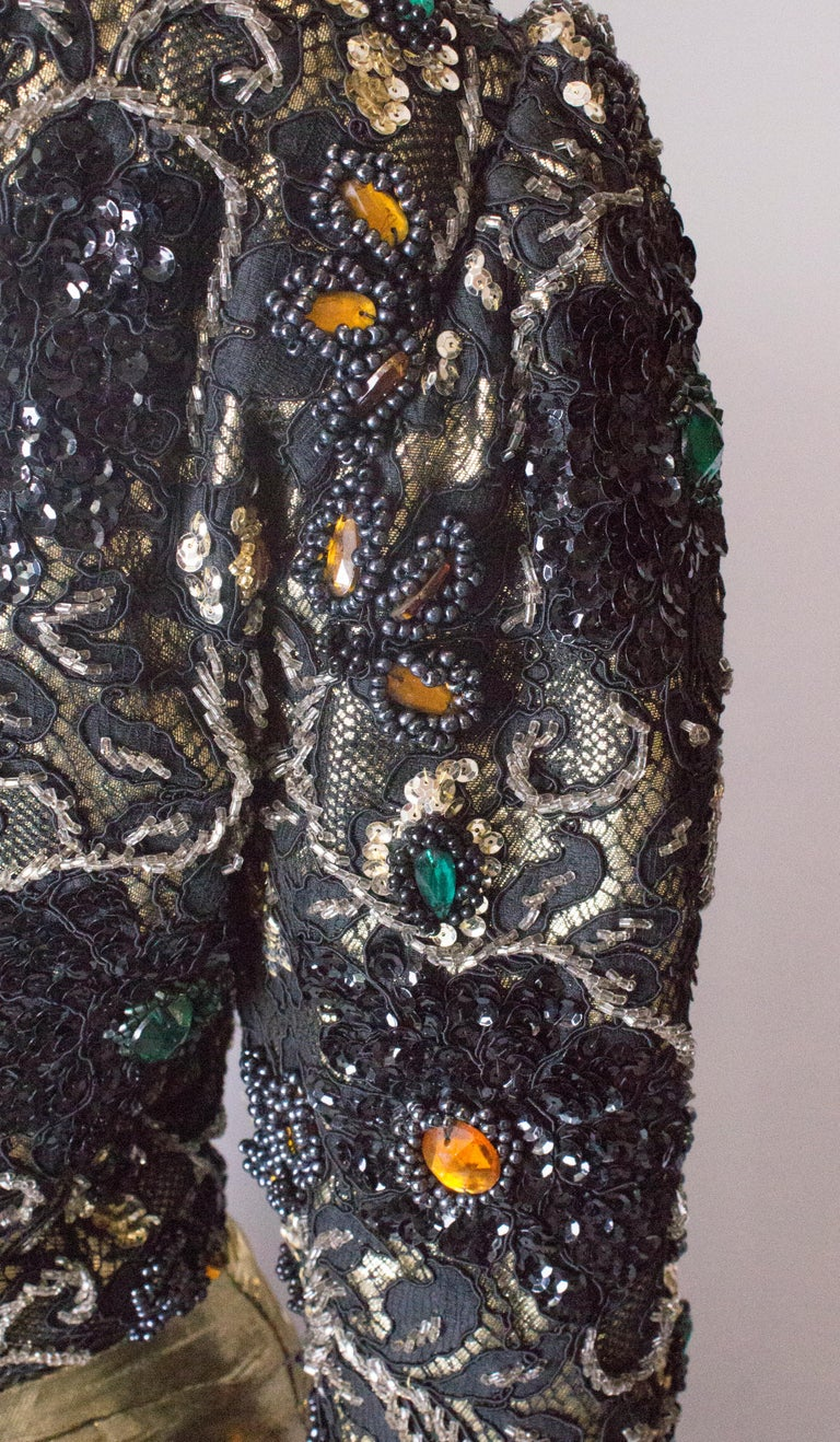 Beaded Evening Gown, 1980s For Sale 4