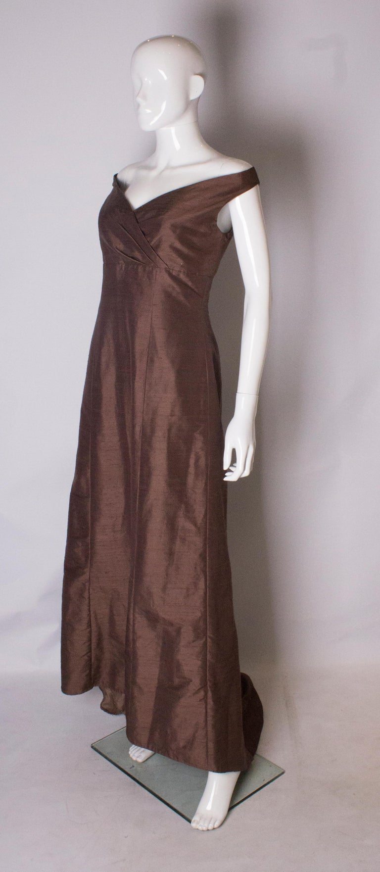 Black Brown Silk Vintage Gown For Sale