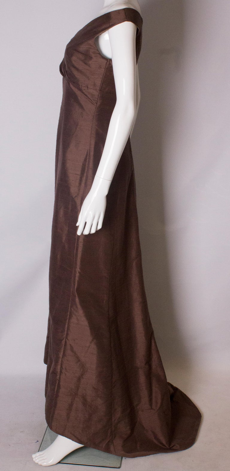 Brown Silk Vintage Gown For Sale 1