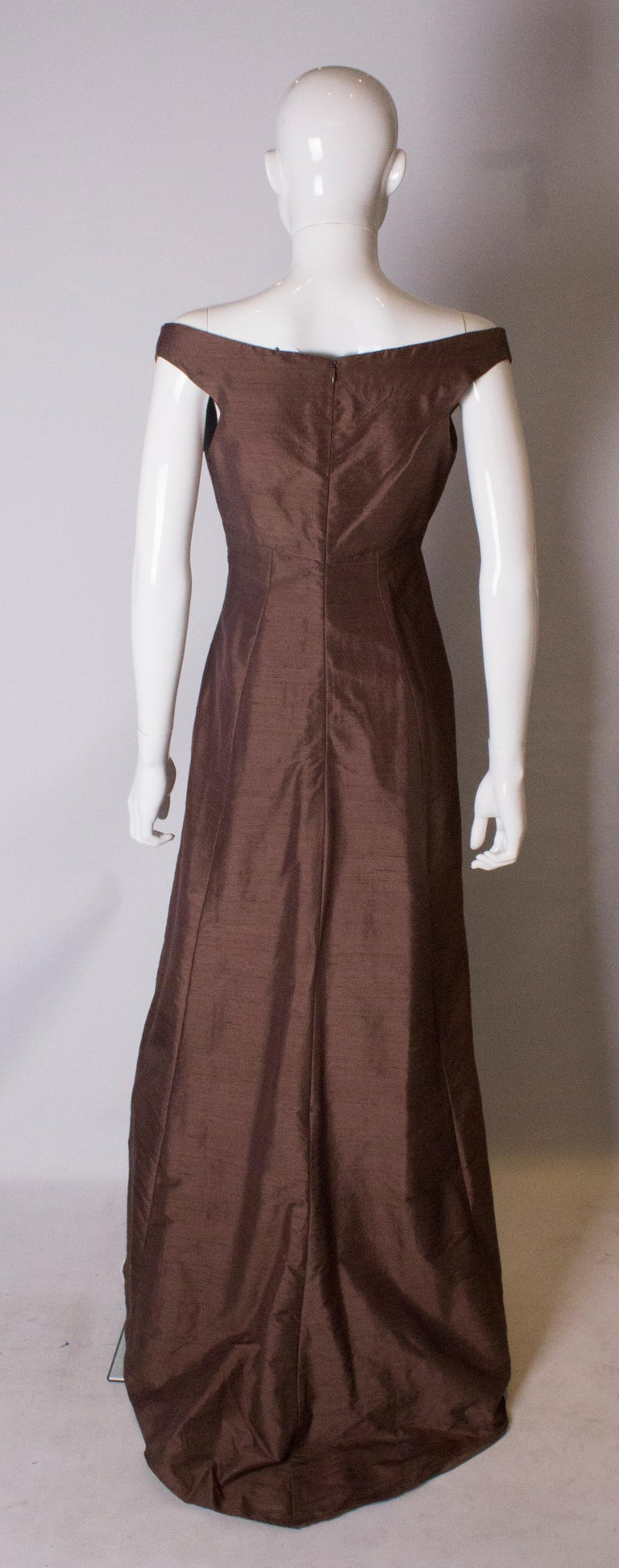 Brown Silk Vintage Gown For Sale 2