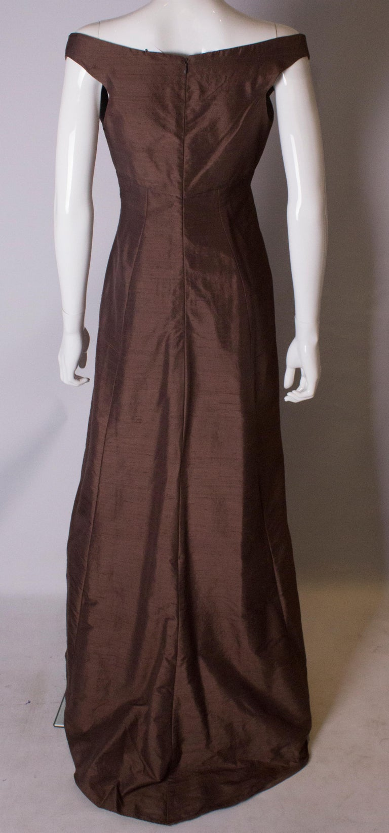 Brown Silk Vintage Gown For Sale 3