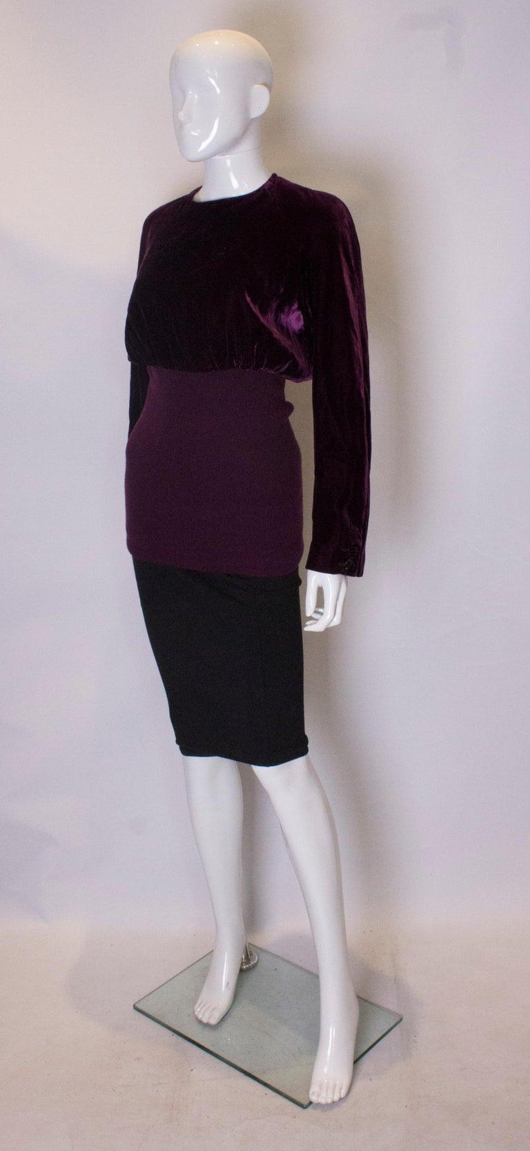 Black Vintage Valentino Boutique Velvet Top For Sale