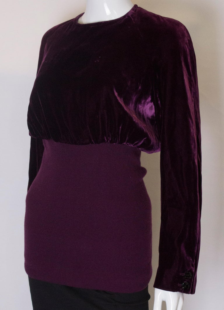 Vintage Valentino Boutique Velvet Top In Good Condition For Sale In London, GB
