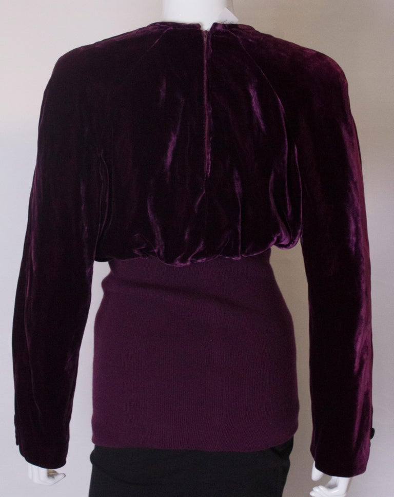 Vintage Valentino Boutique Velvet Top For Sale 3