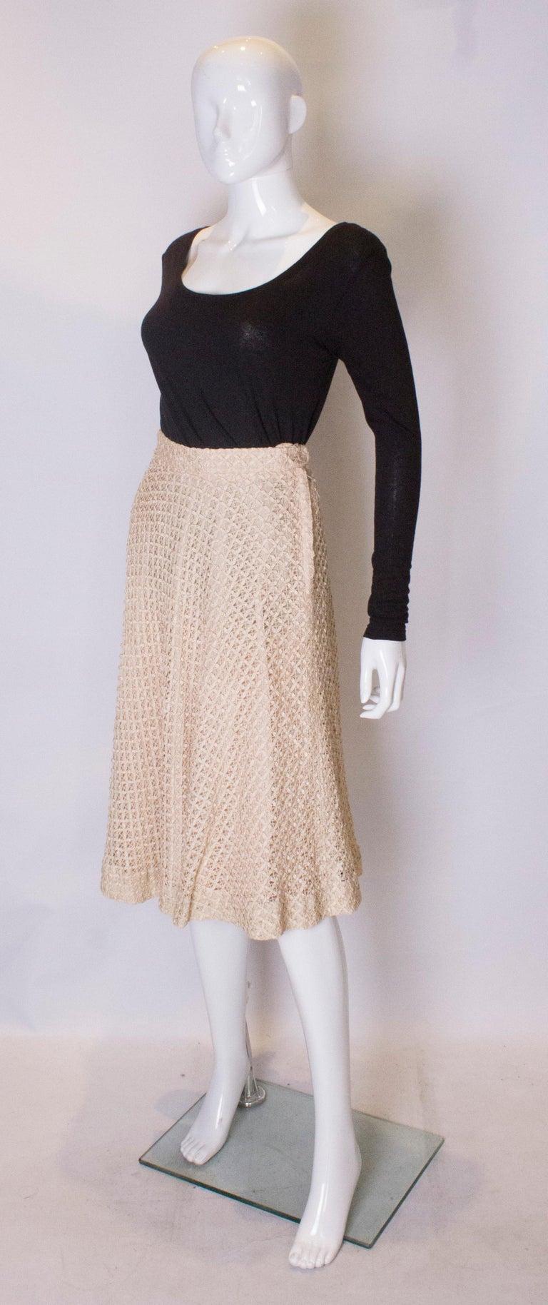 Beige A vintage 1950s cream ribbon woven swing skirt  For Sale