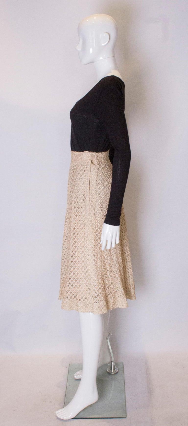 Women's A vintage 1950s cream ribbon woven swing skirt  For Sale