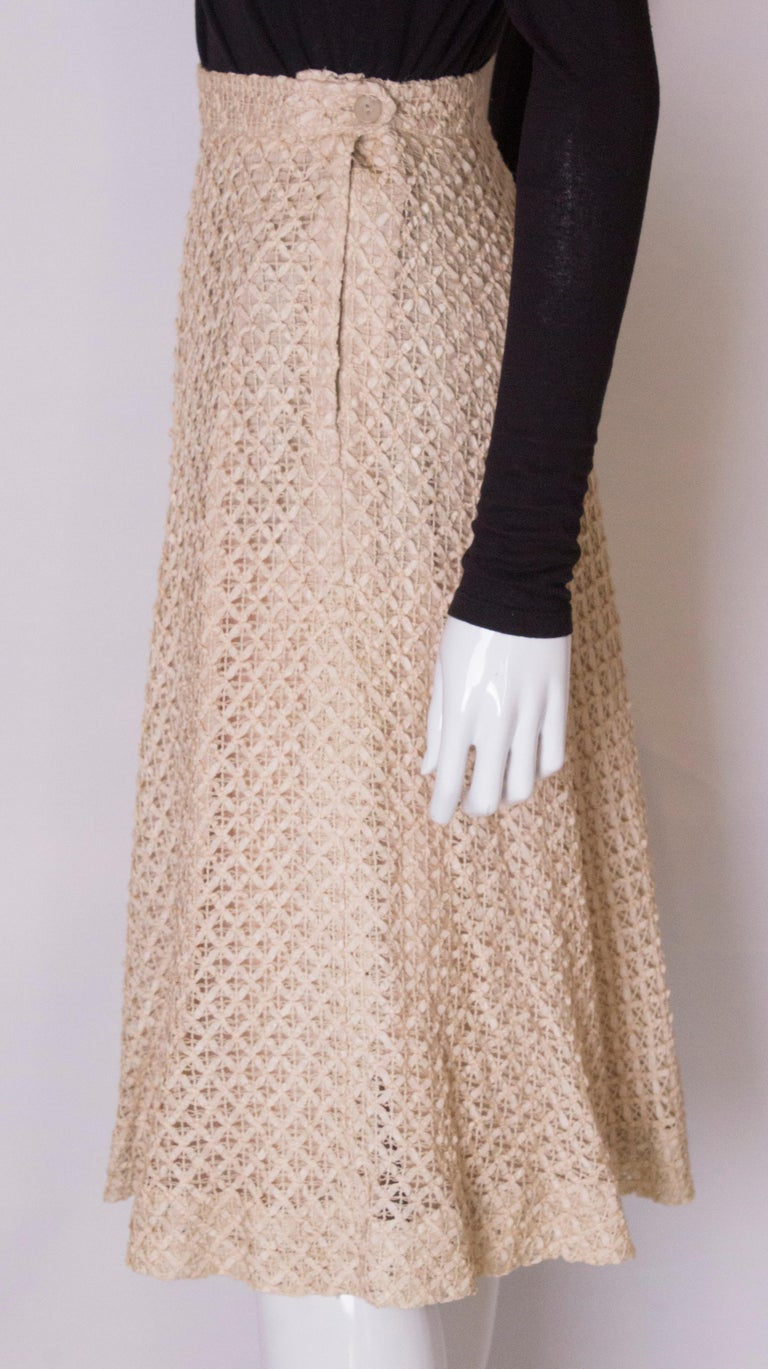 A vintage 1950s cream ribbon woven swing skirt  For Sale 1