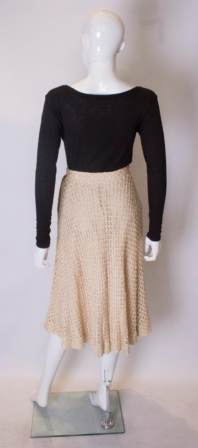 A vintage 1950s cream ribbon woven swing skirt  For Sale 2