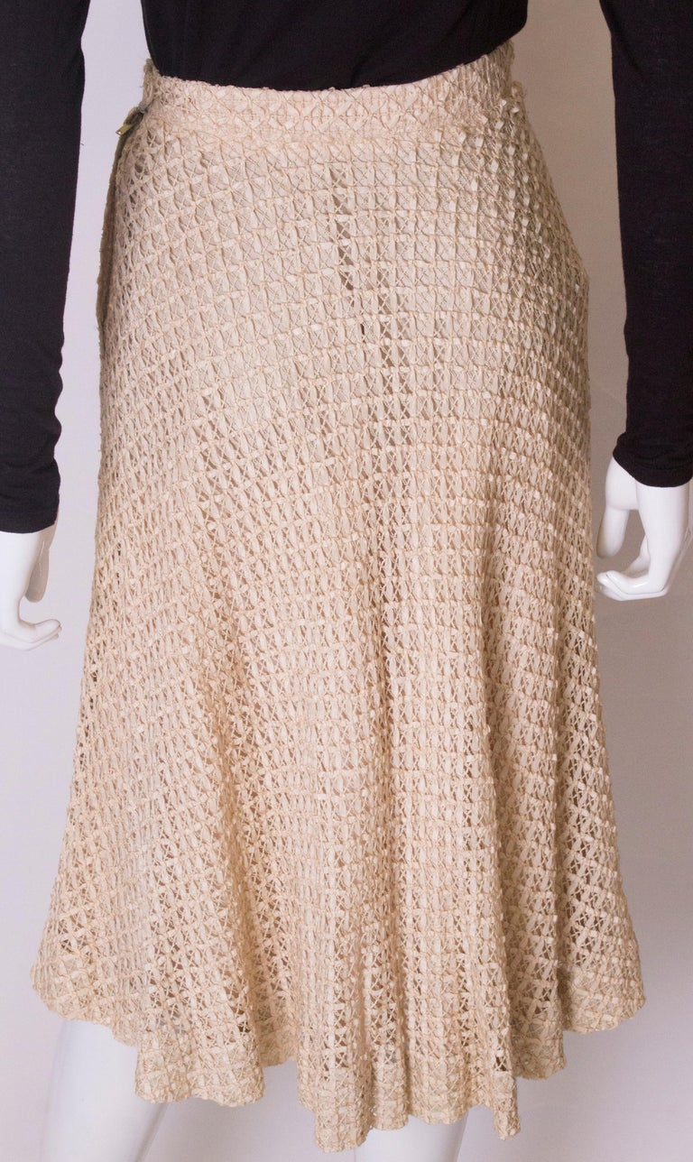 A vintage 1950s cream ribbon woven swing skirt  For Sale 3