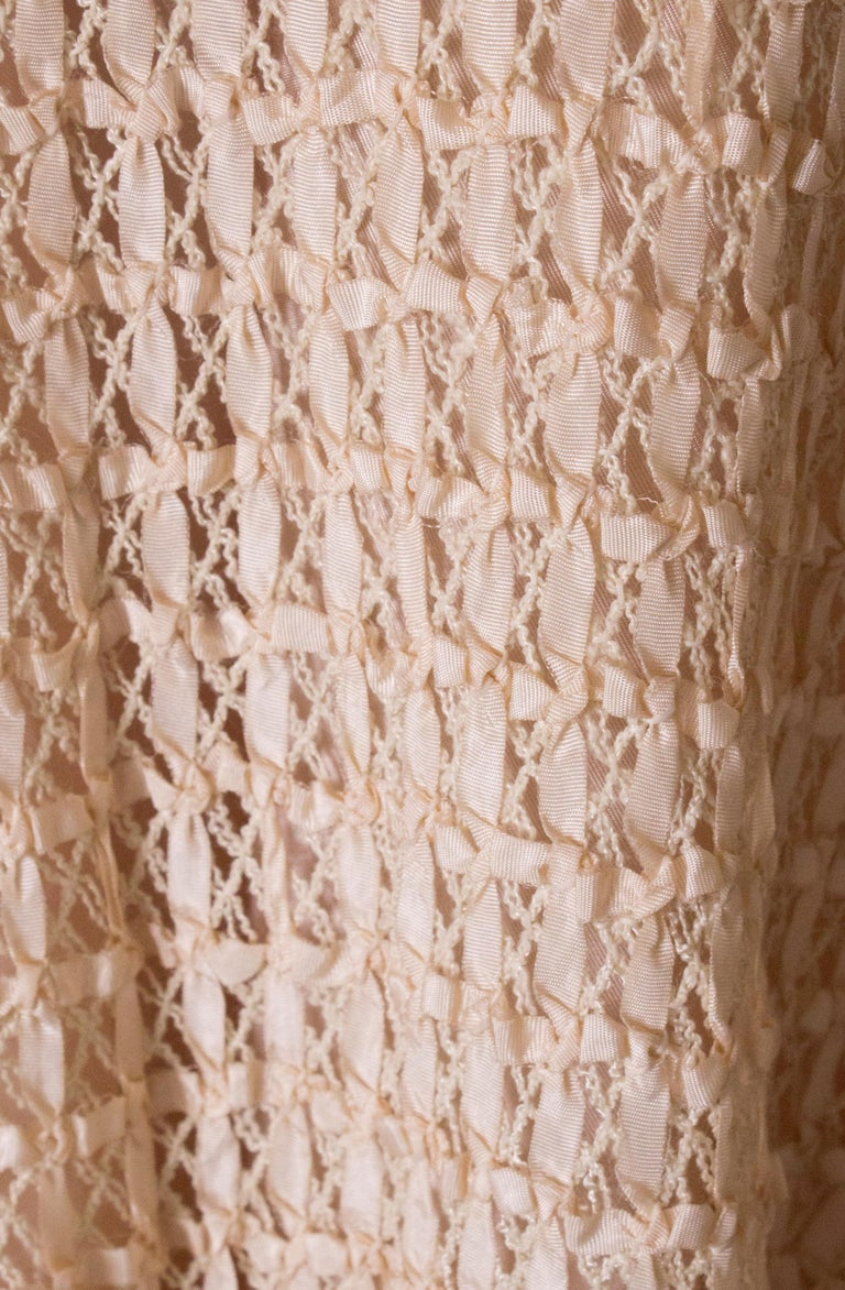 A vintage 1950s cream ribbon woven swing skirt  For Sale 4