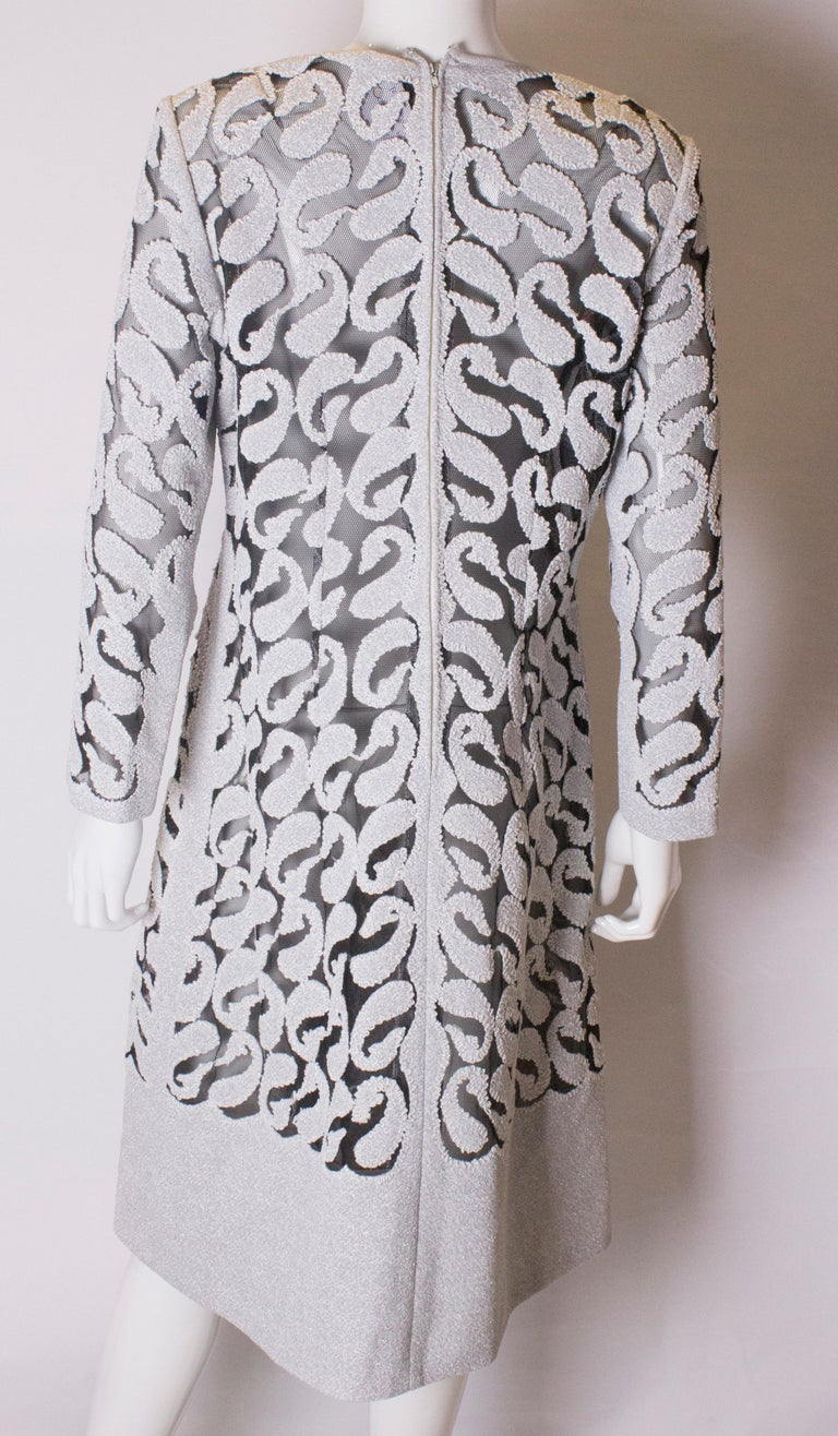 Chic Silver and White Vintage Dress For Sale 3