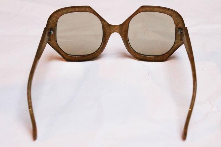 1970 S Christian Dior Light Olive Marbled Wide Rimmed
