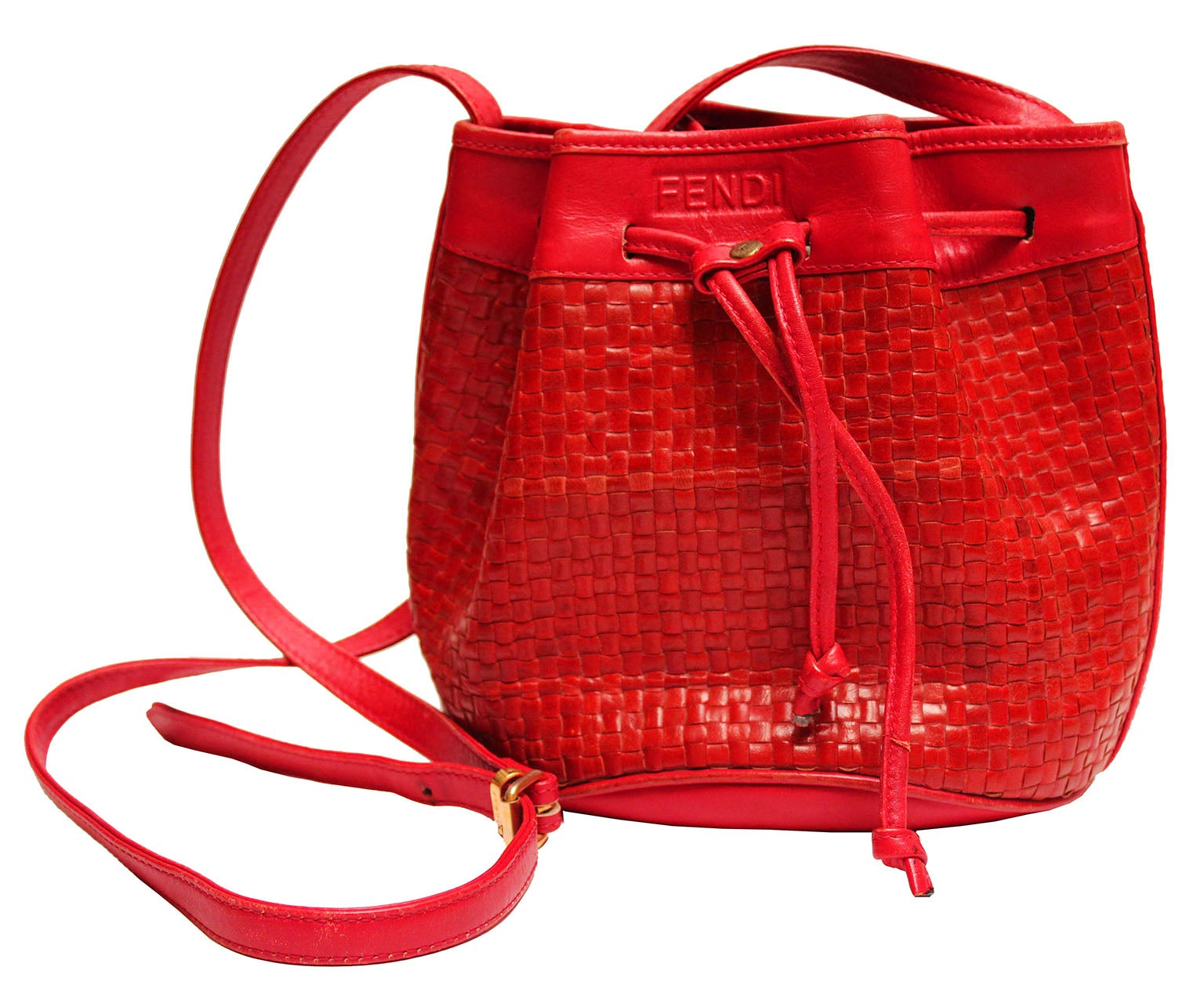 f72032357851 1970s Fendi Red Woven Leather Bucket Bag at 1stdibs