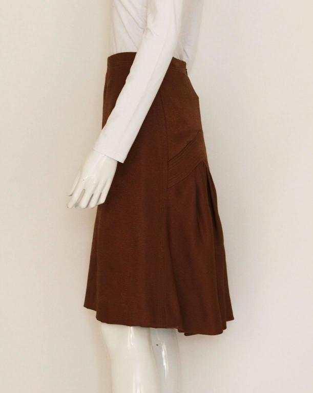 1990s Nina Ricci Bronze Skirt with Gathered  Back In Excellent Condition For Sale In London, GB
