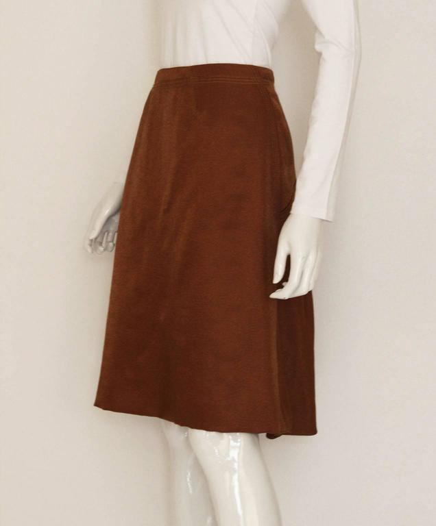 Brown 1990s Nina Ricci Bronze Skirt with Gathered  Back For Sale