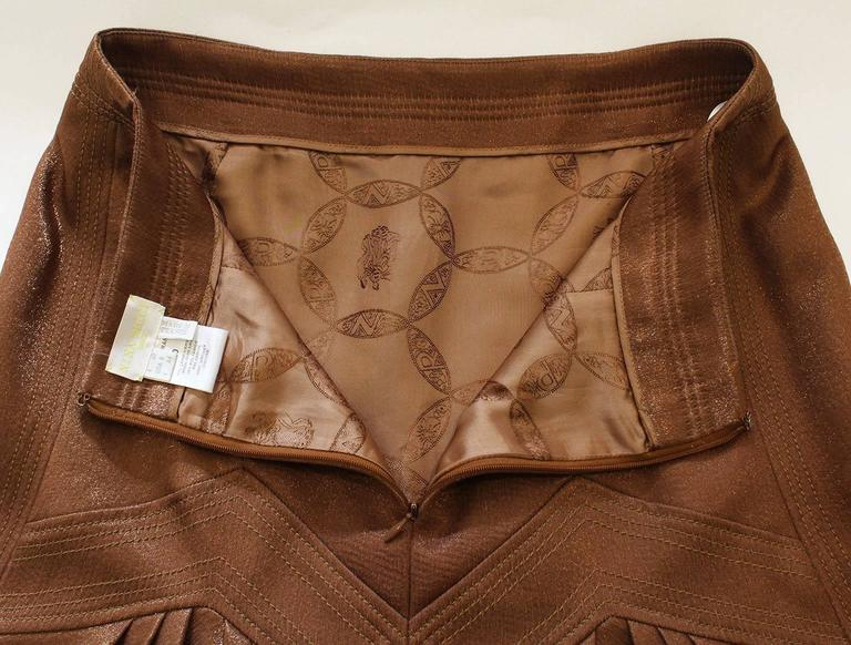 1990s Nina Ricci Bronze Skirt with Gathered  Back For Sale 4