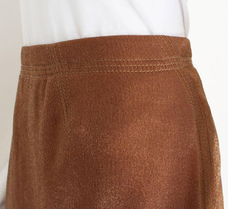 1990s Nina Ricci Bronze Skirt with Gathered  Back For Sale 3