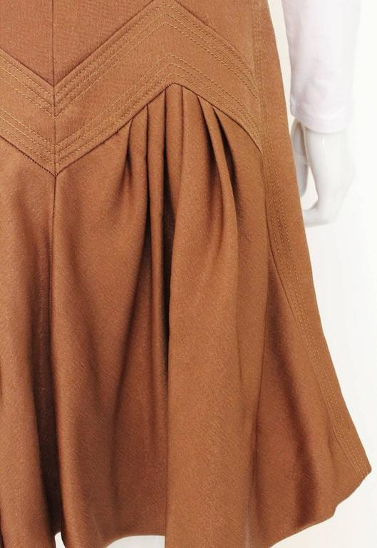 1990s Nina Ricci Bronze Skirt with Gathered  Back For Sale 1