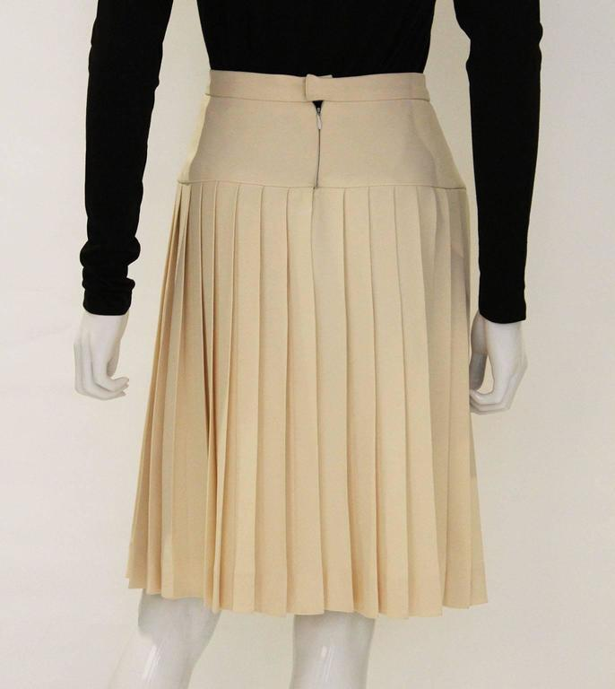 Chanel Silk Pleated Skirt In Excellent Condition For Sale In London, GB