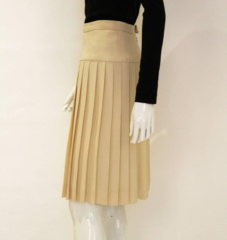 Beige Chanel Silk Pleated Skirt For Sale