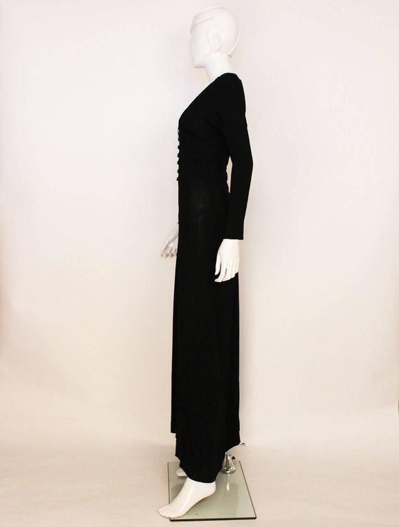 Ossie Clark Black Moss Crepe Maxi Dress, 1970s  In Excellent Condition For Sale In London, GB