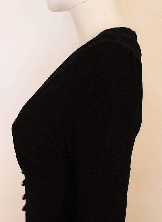 Ossie Clark Black Moss Crepe Maxi Dress, 1970s  For Sale 3