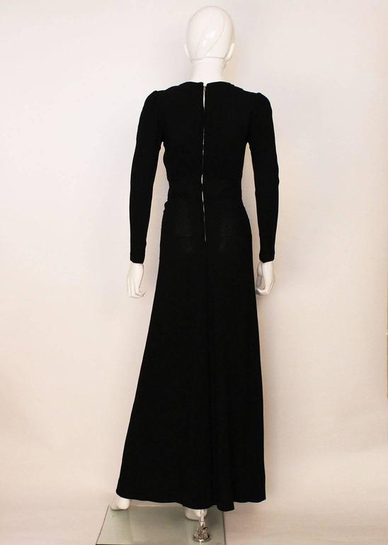Women's Ossie Clark Black Moss Crepe Maxi Dress, 1970s  For Sale