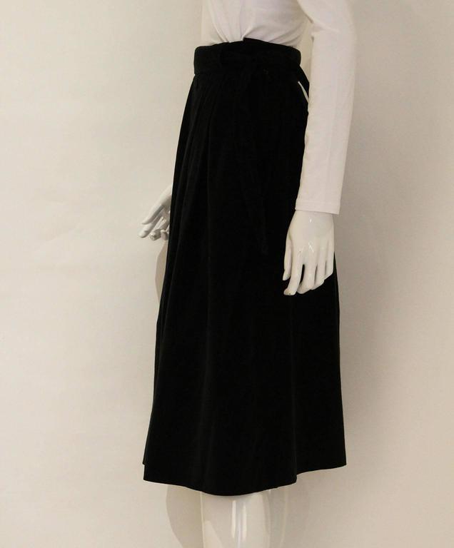 Vintage 1970s Christian Dior Black Velvet Skirt 3
