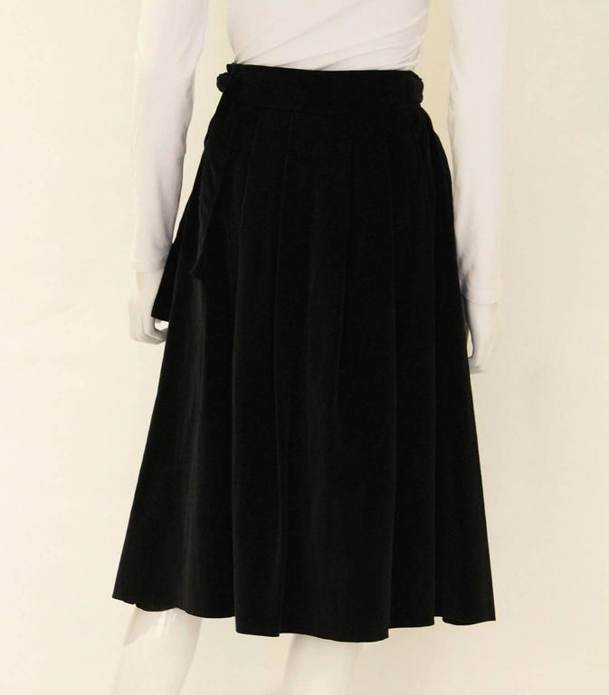 Vintage 1970s Christian Dior Black Velvet Skirt 4