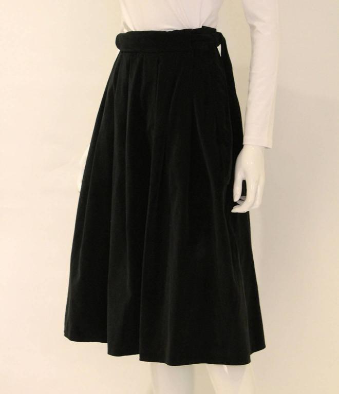 Vintage 1970s Christian Dior Black Velvet Skirt 2