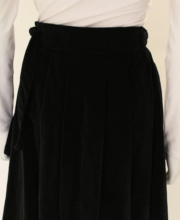 Vintage 1970s Christian Dior Black Velvet Skirt 6