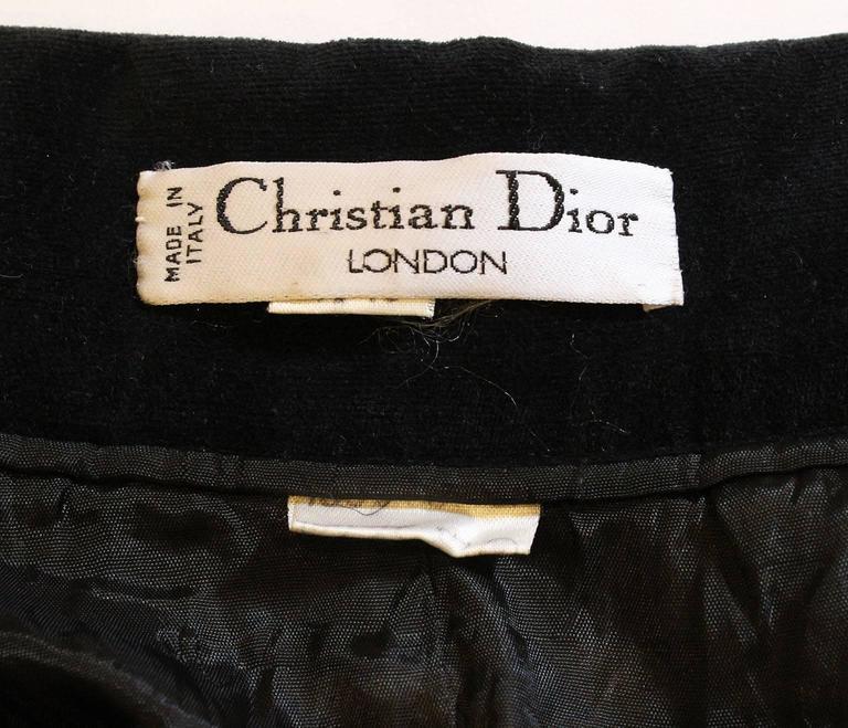 Vintage 1970s Christian Dior Black Velvet Skirt 8