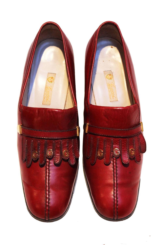 Gucci Burgundy Fringe Loafer Shoes at 1stdibs