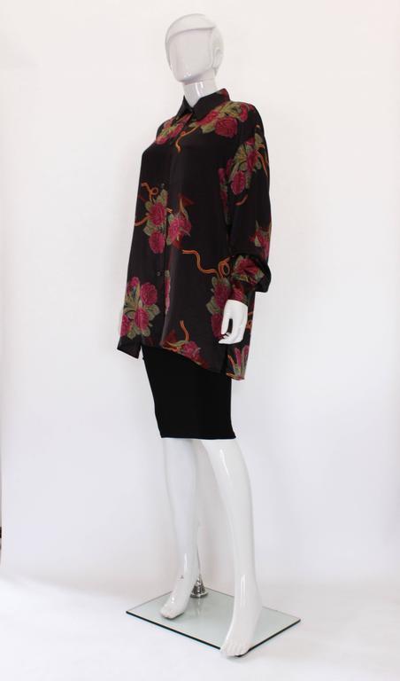 Black Silk Overshirt by Salvatore Ferragamo For Sale