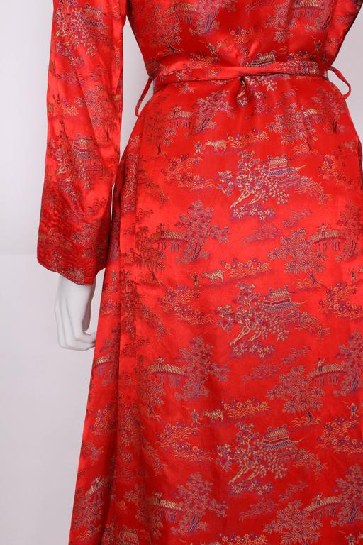 1950s Chinese Style Red Silk Dressing Gown For Sale At 1stdibs