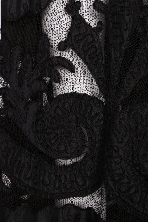 Edwardian Silk & Net Embroidered Black Skirt For Sale 6