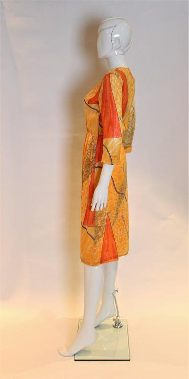 Orange Chanel Creations Silk chiffon Dress For Sale