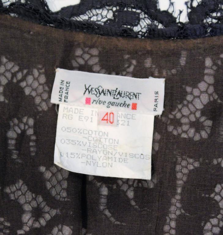 1990s Yves Saint Laurent Blue LaceTop For Sale 2