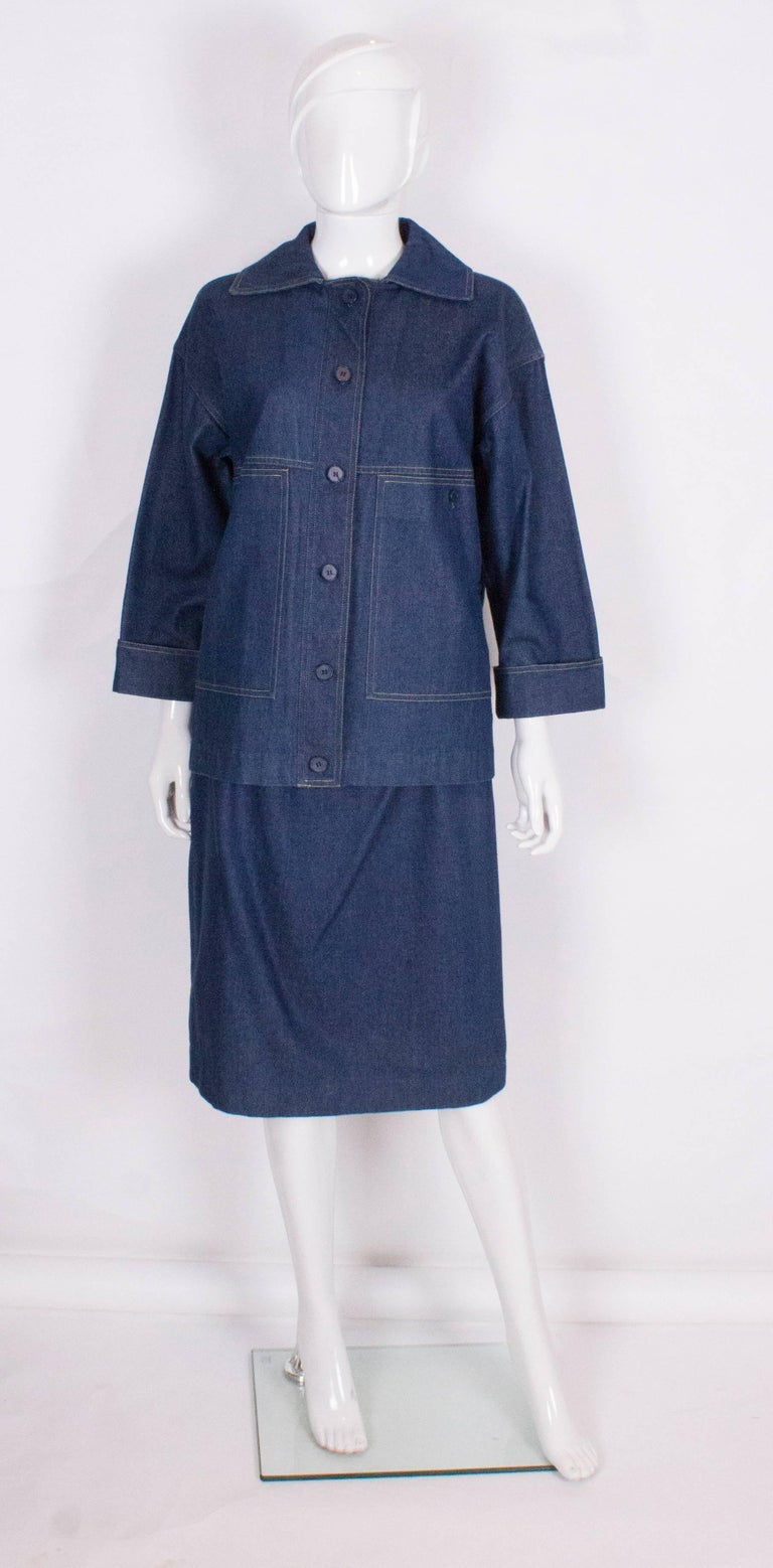 christian vintage denim skirt suit for sale at 1stdibs