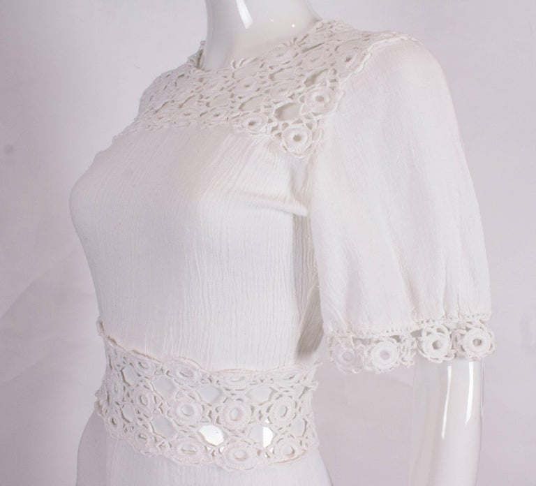 a1cd8729f485 White Cheesecloth Gown with Crochet Detail For Sale at 1stdibs
