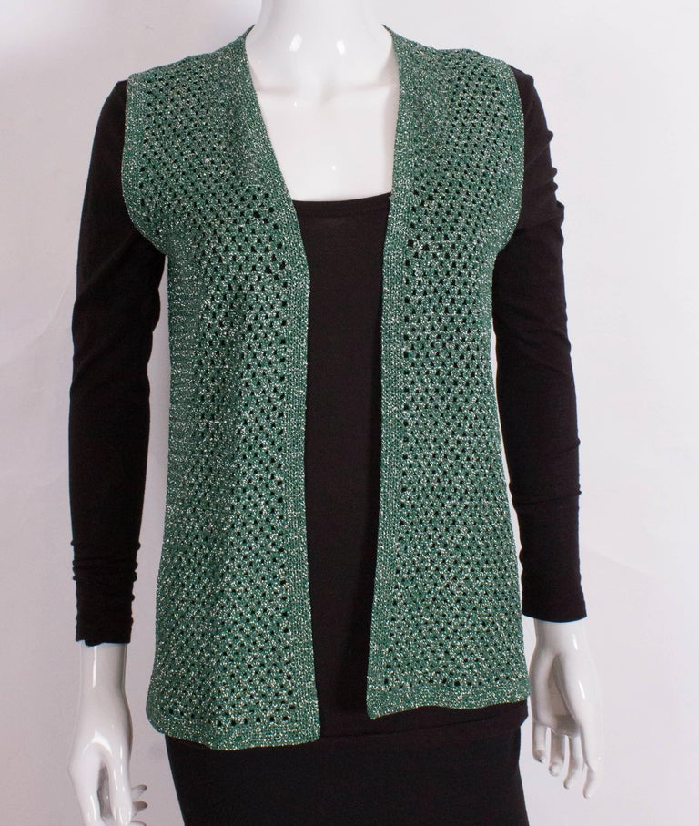 Women's Green and Silver Crochet Gilet For Sale