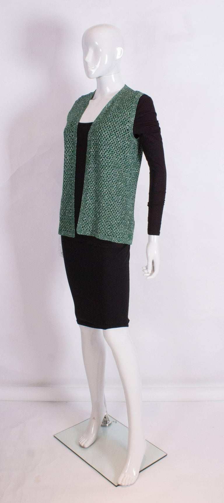Black Green and Silver Crochet Gilet For Sale
