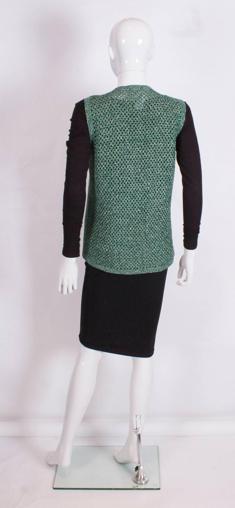 Green and Silver Crochet Gilet In Excellent Condition For Sale In London, GB